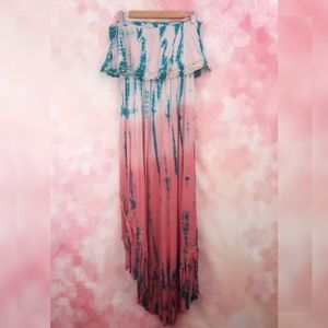 T Party Tie Dye Strapless Fringe High Low Dress